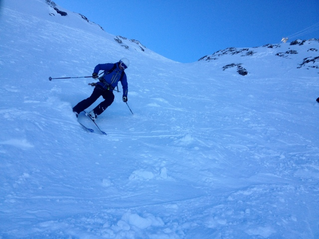 Bringing in 2014 in La Grave, Parky charges down the Vallons de Chancel.