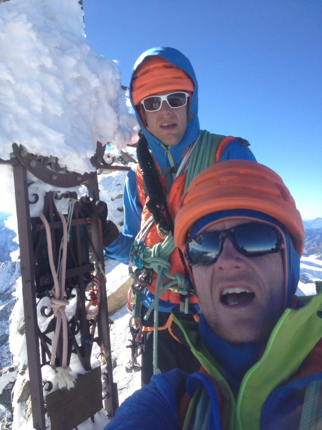 Psyched! On the summit of the Matterhorn with Dave after climbing the North Face via the Schmidt Route. No acclimatisation made the last couple of hundred metres feel like hard work...