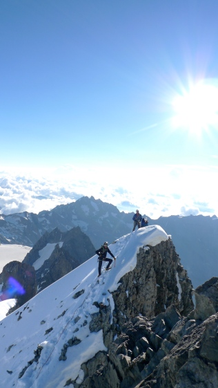 Not the worst place in the world! Pete on the NE Ridge od Barre Des Ecrins. Mountaineering in this area of the French Alps is superb and way quieter than the fleshpots of places like Chamonix. It is also blessed with slightly more settled weather.