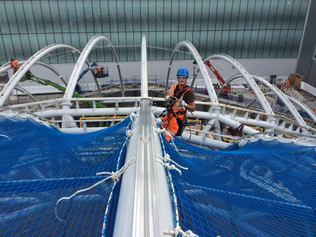 I started my first rope access job in June, working for Glenn Sutcliffe at CAS Ltd on the Birmingham Gateway Project. This was a steep learning curve with an ace group of guys. (Pic by Gaz Reid)